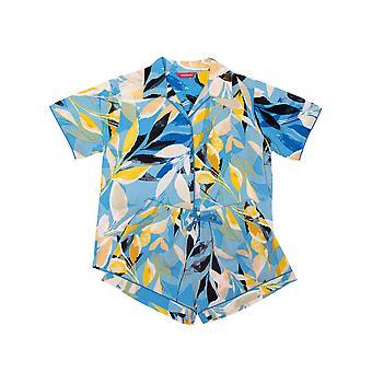 Minijammies Phoebe 5708 Girl's Blue Floral Modal Pyjama Set