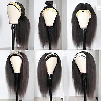 Peruca de cachecol Kinky Straight Human Wigs Headband Wig Wig