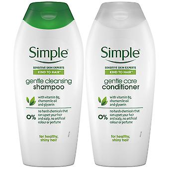 400ml Simple Kind to Hair GentleCleansing Shampoo & Conditionneur DuoWithVitaminB5