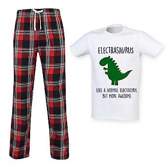 Herre Elektriker Dinosaur Tartan Bukser Pyjama Sæt