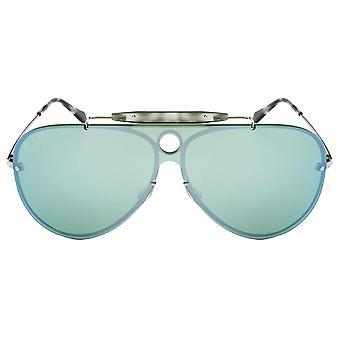 Ray Ban Blaze strelec tmavo zelená/striebro zrkadlo Aviator slnečné okuliare RB3581N-003/3032