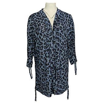 Belle By Kim Gravel Women's Sweater Leopard Print Cardigan Blue A382355