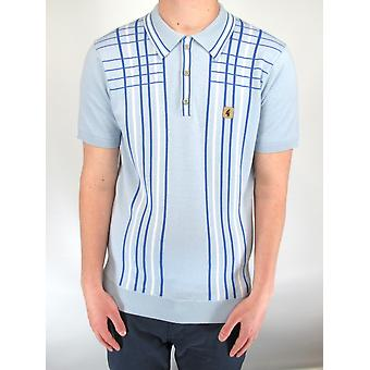 Bale Blue & White Checked Stripe Knitted Polo Shirt