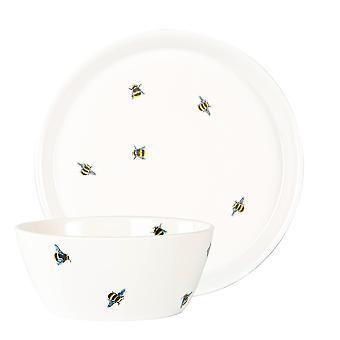 8 Piece Bee Casual Porcelæn Sæt Mønstret Dinner Side Plates Bowls White
