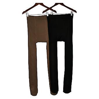 Legacy E/F Plush Cozy Fleece Lined Tights Set Of 2 Black A451660