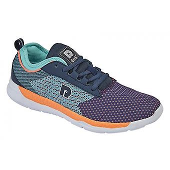 DEK Erica Ladies Athletic Lace Up Trainers Navy/turquoise