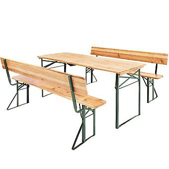 tectake Sæt med bord og bænke med ryglæn - brun