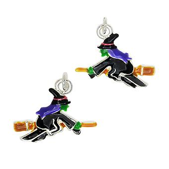 Jewelry Charm, Witch on a Broomstick, 14mm, Left & Right Pair, Silver Plated / Enamel