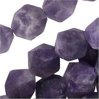 Dakota Stones Gemstone Beads, Dog Teeth Amethyst, Matte Star Cut Faceted Round 10mm, 15 Inch Strand