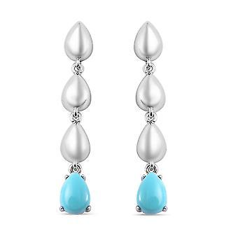 LucyQ Sleeping Beauty Turquoise Drop Dangle Earrings Sterling Silver 1.37ct