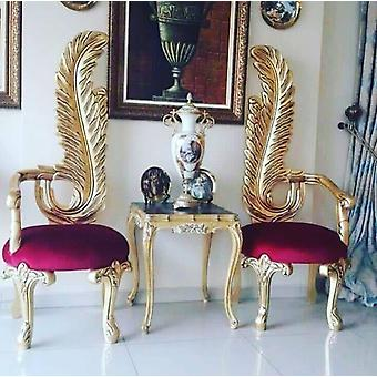 Hand Carved Genuine Gold Leaf Fabric Handmade Wedding Chair