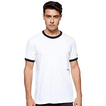 Calvin Klein Contrasted Ringer Reg Fit Tee T-Shirt, White (Bright White/Black Yaf), X-Small Men
