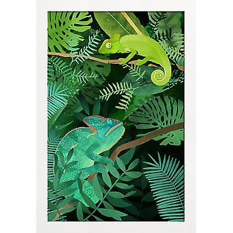 JUNIQE Print - Kameleonter - Djurlivsaffisch i grönt