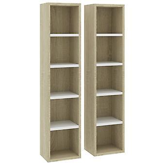 vidaXL CD shelves 2 pcs. white Sonoma oak 21x16x93.5 cm chipboard