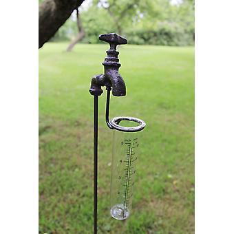 Pluviomètre de jardin en fonte et en verre, robinet extérieur
