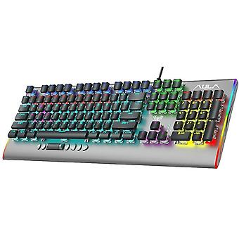 Wokex F2099 Mechanical Gaming Keyboard with Media Scrollwheel RGB LED Backlit Slim Keycaps Metal