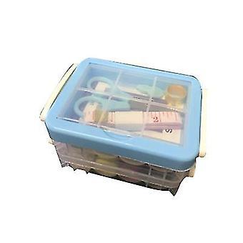 Dreischichtige transparente Nähbox Nadel und Faden Aufbewahrungswerkzeug Tragbar (blau)