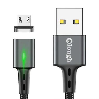 Elough Micro USB Magnetic Charging Cable 2 Meters with LED Light - 3A Fast Charging Braided Nylon Charger Data Cable Android Gray