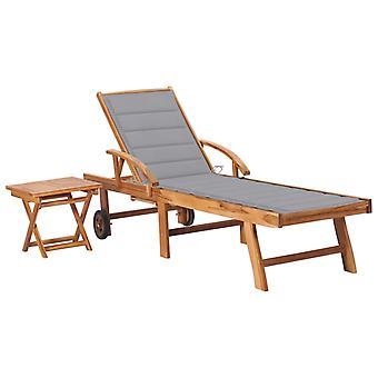 vidaXL chaises avec table et couche de bois massif Teck