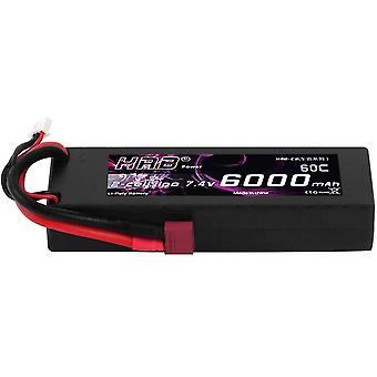 RC Akku 6000 mAh Lipo Batterie 7,4V 60C 2S mit Female T-Stecker Batterie Ersatzakku für RC Auto