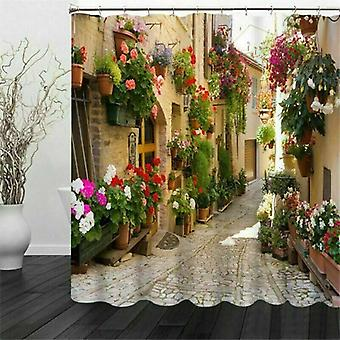 (180*200cm) Street Scene 3D Pattern Waterproof Polyester Fabric Shower Curtain With Hooks