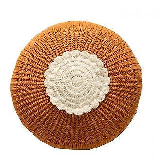 Knitted Circular Children's Toy Pillow Model Room Decorative Cushion(Yellow)