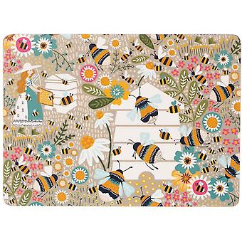 Ulster Weavers Bee Keeper Cork Wipe-Clean 4 Pack Table Setting  Placemats