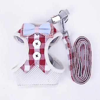 Cat Chest Strap Polyester Breathable Mesh Vest-style Pet Harness Pulling Traction Leash Rope