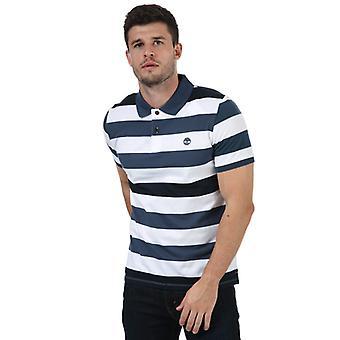 Menn's Timberland Stripe Polo skjorte i blått