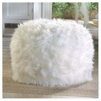 Accent Plus Furry White Pouf ottoman ou Siège, Pack de 1
