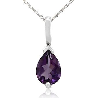 Classic Pear Amethyst Pendant Necklace in 9ct White Gold 25661