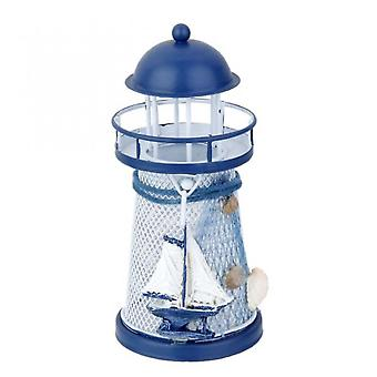 Aionyaaa 13.5 Cm Hand-painted Lighthouse Model Iron Candle Holder Beach Theme Decoration