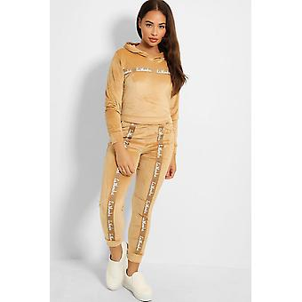 Women Velours Nicki Sports Tracksuit Cozy Soft Stretch Homesuit Print Set