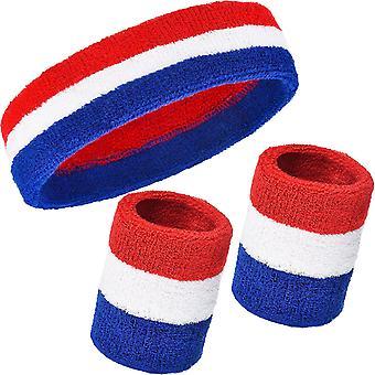 3-piece Sweat Belt Set Including Sports Headband And Wristband Cotton Stripe Sports Men And Women Sports