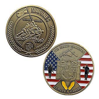 Yhdysvaltain merijalkaväen pronssimitalikokoelman kolikko kohokuvii badge-kolikko kultakolikolla muistokolikolla