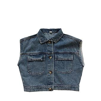 Children's Retro Fashion Denim Vest Pocket Washing Vest Toddler Vest  Toddler Girl Clothes