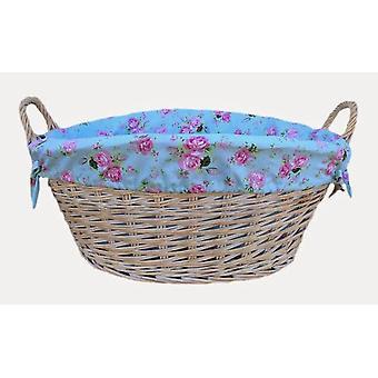 White Finish Cottage Rose Lined Wash Basket
