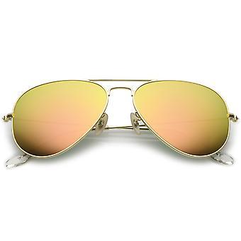 Premium Small Colored Mirror Glass Lens Classic Matte Metal Aviator Sunglasses 57mm