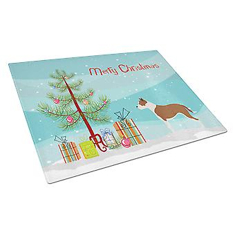 Pit Bull Terrier Christmas Glass Cutting Board Large