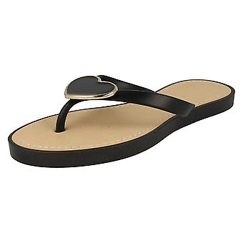 Ladies Spot On Glamorous Metal Heart Toe Post Sandals