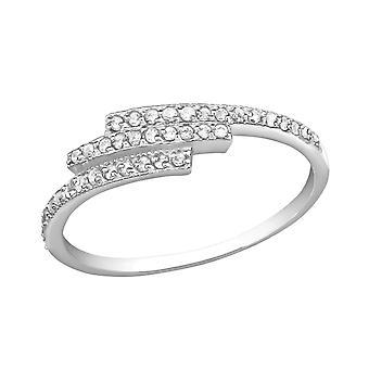 Triple Line - 925 Sterling Silver Jewelled Rings - W30549X