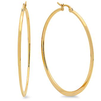 Ladies 18 Kt Gold Plated 50mm Hoop Earrings