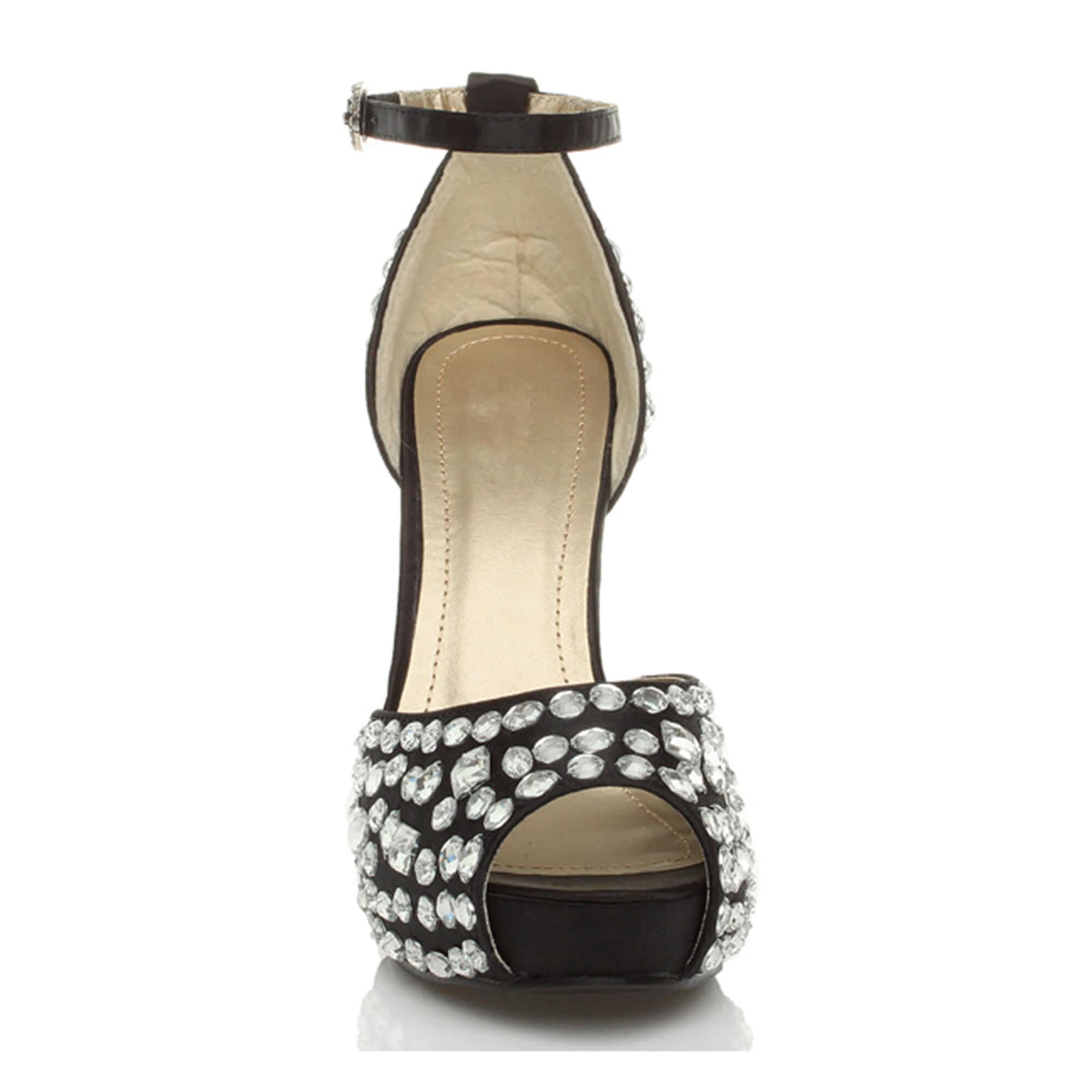 Ajvani wysoki obcas platforma peep toe klejnot kostki pasek ślubne sandały buty damskie UoNvj