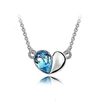 Sky Blue Designer Love Heart Crystal Silver Jewellery Necklace BG1411