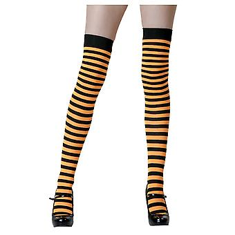 Wicked Witch Sorceress Orange Black Striped Women Costume Nylon Stockings
