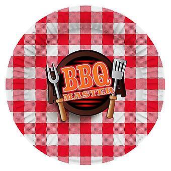 Parti tallrik nummerplåt BBQMaster grill fest födelsedag 27 cm diameter 8 bitar