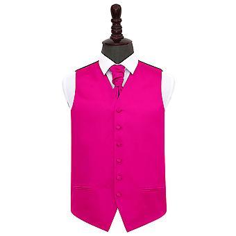 Hete roze platte satijnen bruiloft gilet & Cravat Set