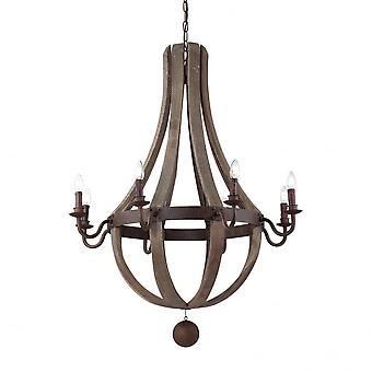 Ideale Lux Millennium rustiek hout en ijzer 8 kroonluchter