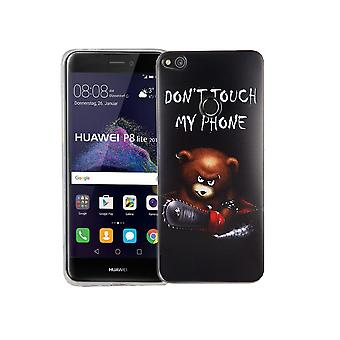 Handy Hülle für Huawei P8 Lite 2017 Cover Case Schutz Tasche Motiv Slim TPU + Panzer Schutz Glas 9H Schriftzug Bär mit Kettensäge