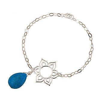 Drip Lotus Flower - mandala - turquoise - women - bracelet - 925 Silver - - Blue - YOGA